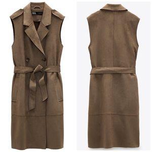 NEW Zara Faux Suede Khaki Long Trench Vest Dress M